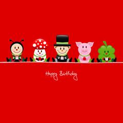 Ladybug,Fly Agaric,Chimney Sweeper,Pig & Cloverleaf Gifts Red
