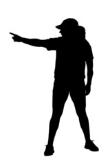 Pointing Lady Exerciser Silhouette