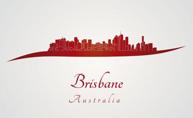 Brisbane skyline in red