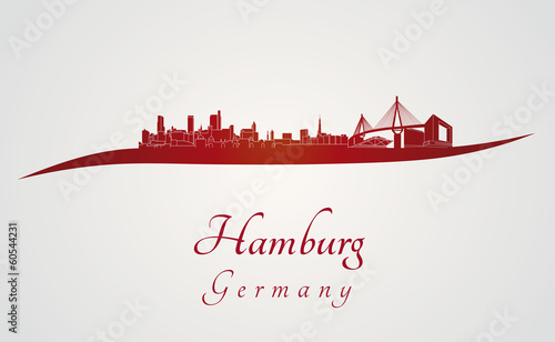 Hamburg skyline in red