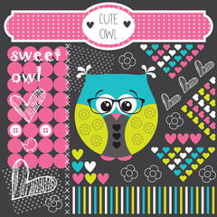 cute ornament owl vector illustration