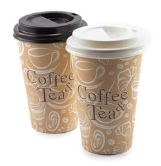paper cup with a coffee and tea