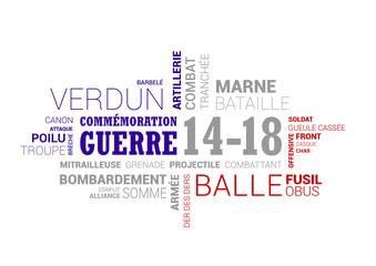 Nuage de mots - guerre 1914 - 1918 bleu blanc rouge
