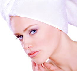 Pretty woman face care and beauty