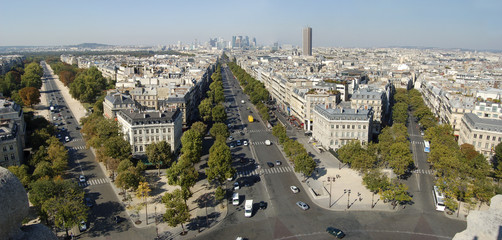Panorama of Paris from the Triumph Arch