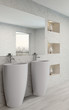 White bathroom interior with modern furniture