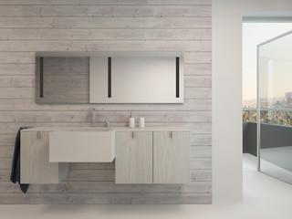 White bathroom interior with modern furniture