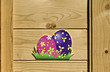 The front door decoration  with Easter egg of paper