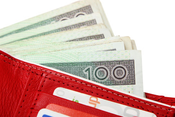 red leather wallet closeup with money
