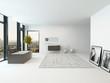Pure clean white bathroom interior with bathtub