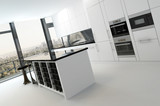 Luxury kitchen interior in pure white color