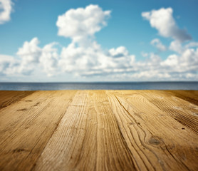 wooden table on the beach