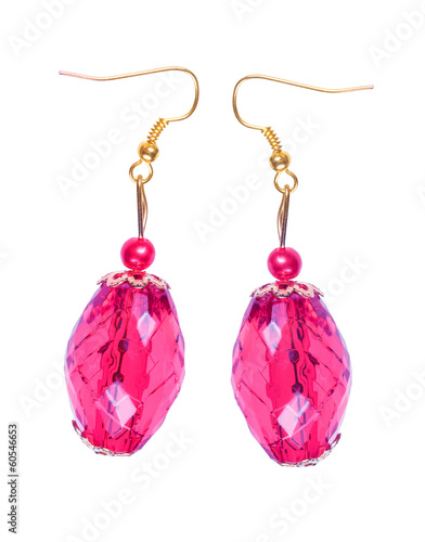 Earrings in light-cherry glass with gold elements. white backgro