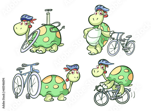 cycling turtle on bike