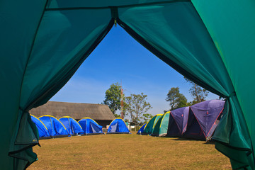 view from a touristic tent