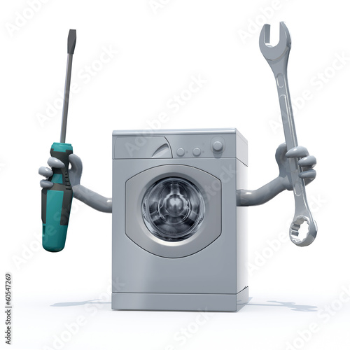 washing machine with arms and tools on hands