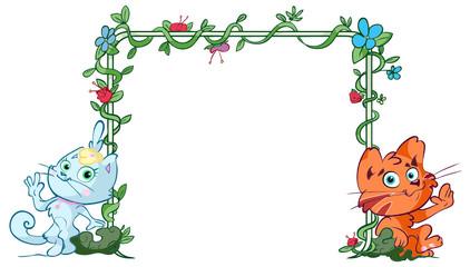 kitten floral frame