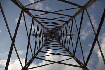 Nadir View of an electricity pylon