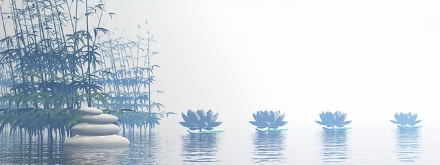 Bamboos and lily flowers - 3D render