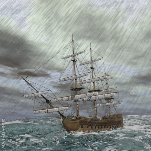 Old ship in the storm - 3D render