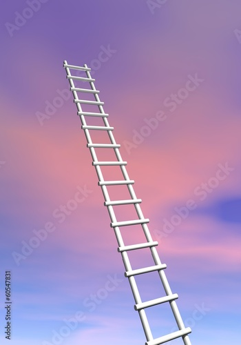 Ladder to success - 3D render