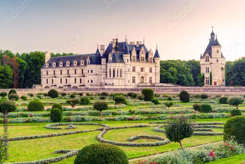 Leinwanddruck Bild The Chateau de Chenonceau at sunset, France