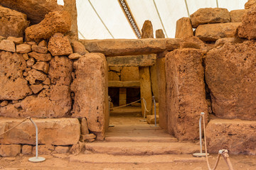 Entrance of the Mnajdra temple in the Malta