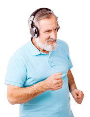 Old guy enjoying music