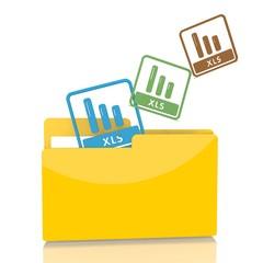 file folder with three xls symbol