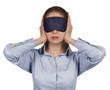 Girl blindfolded stopped up their ears