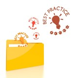 file folder with three best practice symbol