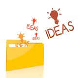 file folder with three idea sign