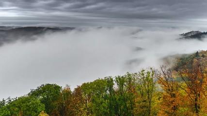 Timelapse foggy valley