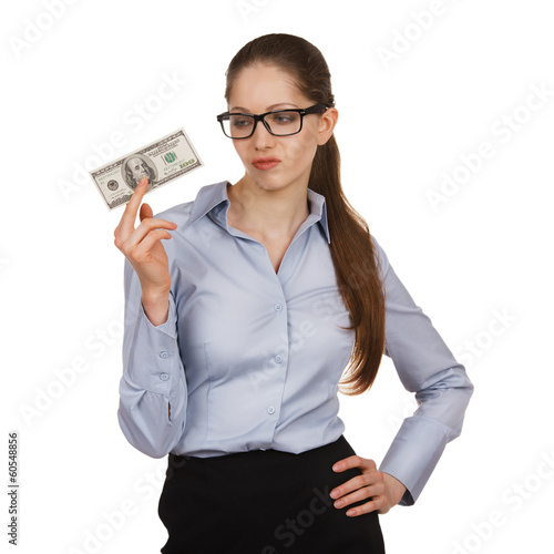 Woman holding a hundred dollar bill disparagingly