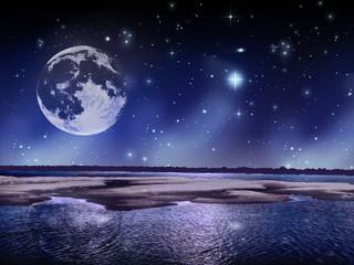 Noche estrellada de luna llena