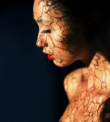 Art. Woman's Face with Reflex of Openwork Lace - Fancy Makeup