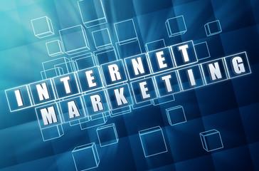 internet marketing in blue glass blocks