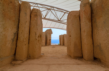 View to the ocean from Mnajdra temple in the Malta