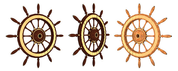 Wooden steering wheel of a ship