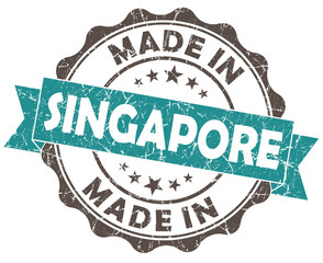 made in SINGAPORE blue grunge seal