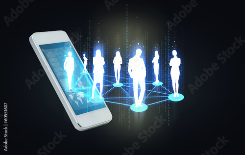 smartphone with social or business network