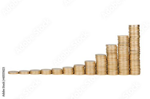 Turkish coins raising chart in isolated white background