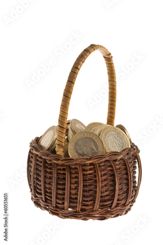 Turkish coins basket with isolated white background