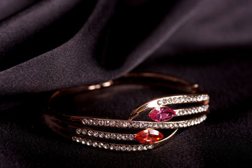Beautiful jewelry on black background