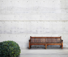 Antique bench and green bush on bright concrete background