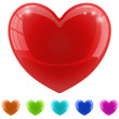 Red glossy heart with color variants.