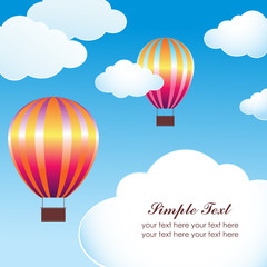 Hot air ballon in the sky vector illustration