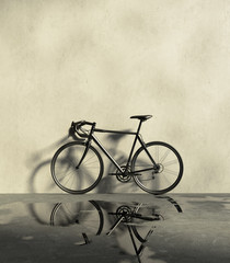 Road racing bicycle  in a grungy, wet and dirt place