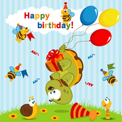 birthday turtle flown on balloons - vector  illustration