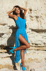 Woman In Blue Dress Outdoor